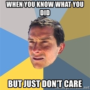 Bear Grylls - When you know what you did but just don't care