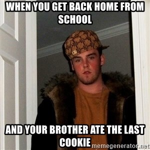 Scumbag Steve - when you get back home from school AND YOUR BROTHER ATE THE LAST COOKIE