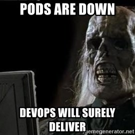 OP will surely deliver skeleton - Pods are down  Devops will surely deliver