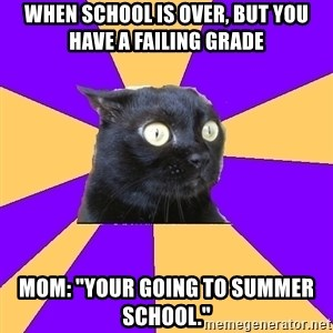 "Anxiety Cat - When school is over, but you have a failing grade Mom: ""Your going to summer school."""