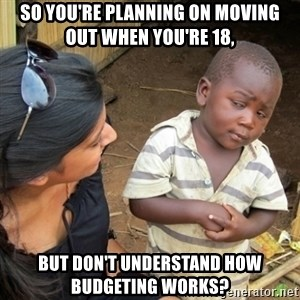 Skeptical 3rd World Kid - so you're planning on moving out when you're 18, but don't understand how budgeting works?