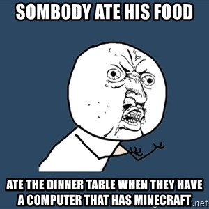 Y U No - sombody ate his food  ate the dinner table when they have a computer that has minecraft