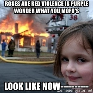 Disaster Girl - ROSES ARE RED VIOLENCE IS PURPLE wonder what YOU MOFO'S  LOOK LIKE NOW----------