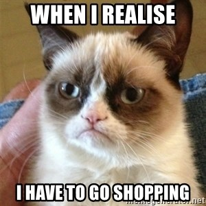 Grumpy Cat  - WHEN I REALISE I HAVE TO GO SHOPPING