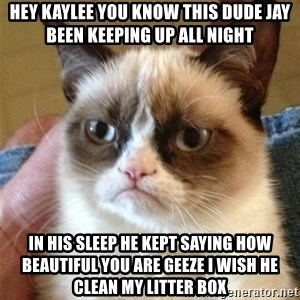 Grumpy Cat  - Hey Kaylee you know this dude Jay been keeping up all night In his sleep he kept saying how beautiful you are geeze I wish he clean my litter box