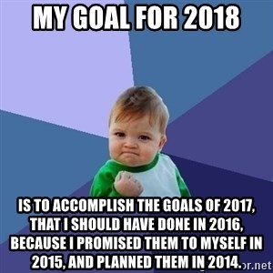 Success Kid - My goal for 2018 Is to accomplish the goals of 2017, that I should have done in 2016, because I promised them to myself in 2015, and planned them in 2014.