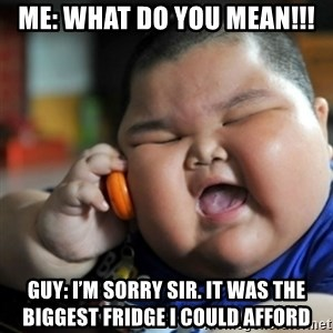 fat chinese kid - Me: WHAT DO YOU MEAN!!! Guy: I'm sorry sir. It was the biggest fridge I could afford