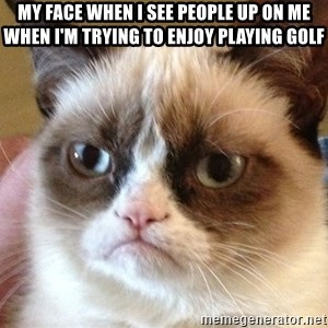 Angry Cat Meme - My face when I see people up on me when I'm trying to enjoy playing golf