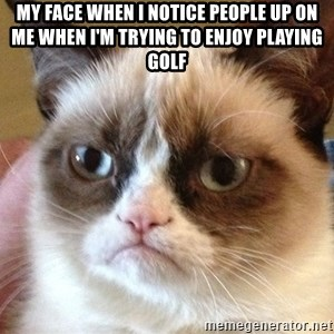 Angry Cat Meme - My face when I notice people up on me when I'm trying to enjoy playing golf