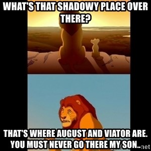 Lion King Shadowy Place - What's that shadowy place over there? That's where August and Viator are. You must never go there my son..