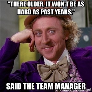 "Willy Wonka - ""There older, it won't be as hard as past years."" Said the team manager"