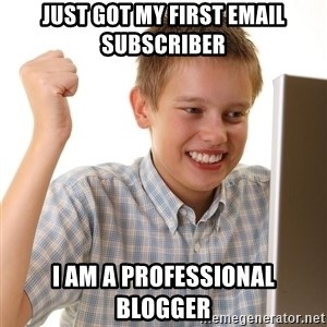 First Day on the internet kid - just got my first email subscriber i am a professional blogger