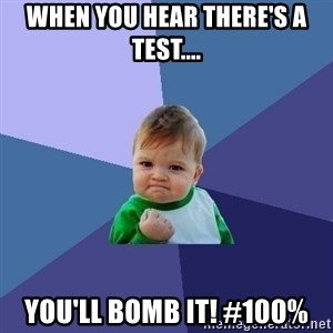 Success Kid - When you hear there's a test.... You'll bomb it! #100%