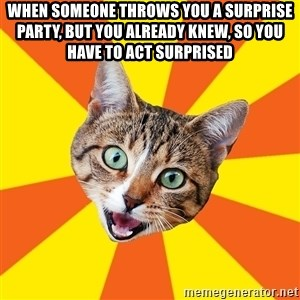 Bad Advice Cat - When someone throws you a surprise party, but you already knew, so you have to act surprised