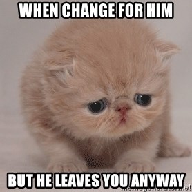 Super Sad Cat - when change for him but he leaves you anyway