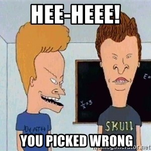 Beavis and butthead - Hee-heee!  you picked wrong