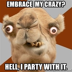 Crazy Camel lol - Embrace  my crazy? Hell, i party with it.