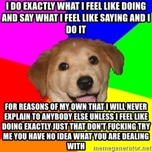 Advice Dog - i do exactly what i feel like doing and say what i feel like saying and i do it for reasons of my own that i will never explain to anybody else unless i feel like doing exactly just that don't fucking try me you have no idea what you are dealing with
