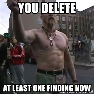 Techno Viking - You delete at least one finding now