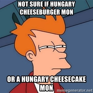 Futurama Fry - Not sure if Hungary cheeseburger mon Or a Hungary cheesecake mon