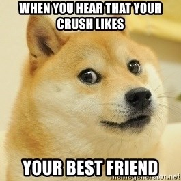 Dogeeeee - When you hear that your crush likes  your best friend