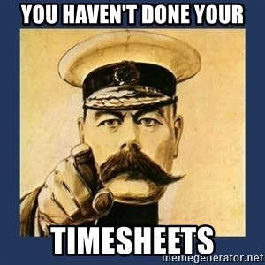 your country needs you - You haven't done your TIMESHEETS