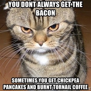 angry cat 2 - You dont always get the BACON sometimes you get chickpea pancakes and burnt tornail coffee