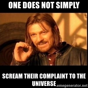 one does not  - one does not simply scream their complaint to the universe