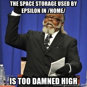 Rent Is Too Damn High - The space storage used by epsilon in /home/ is too damned high