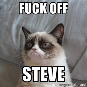 Grumpy cat good - Fuck off Steve