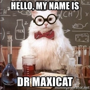 Chemistry Cat - Hello, my name is Dr maxicat