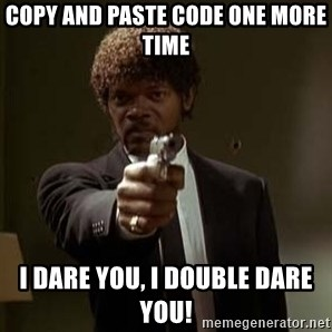 Jules Pulp Fiction - Copy and Paste code one more time I dare you, I double dare you!