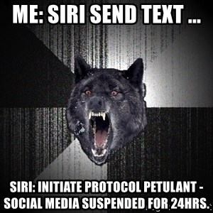 Insanity Wolf - Me: Siri send text ... Siri: Initiate Protocol petulant - social media suspended for 24hrs.
