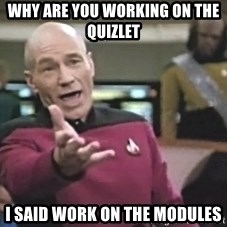 Captain Picard - Why are you working on the quizlet  I said work on the modules