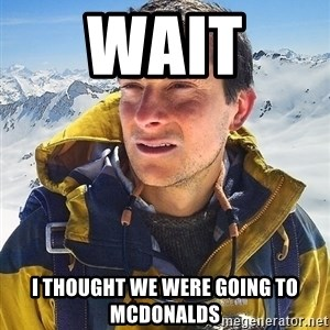 Bear Grylls Loneliness - Wait  I thought we were going to Mcdonalds