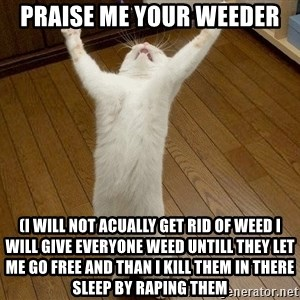 praise the lord cat - praise me your weeder (i will not acually get rid of weed i will give everyone weed untill they let me go free and than i kill them in there sleep by raping them