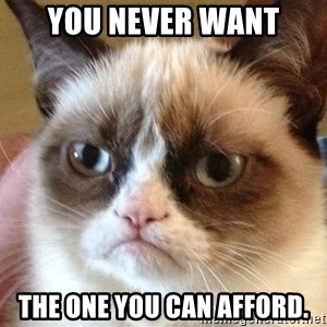 Angry Cat Meme - You never want the one you can afford.