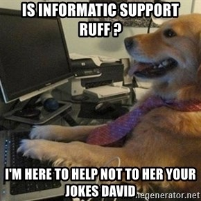 I have no idea what I'm doing - Dog with Tie - is informatic support ruff ? I'm here to help not to her your jokes david