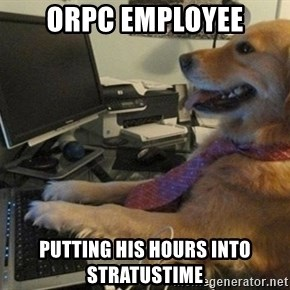 I have no idea what I'm doing - Dog with Tie - ORPC employee putting his hours into Stratustime