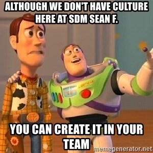 Consequences Toy Story - Although we don't have culture here at SDM Sean F. you can create it in your Team