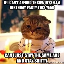 Birthday Cat - If I can't afford throw myself a birthday party this year can I just stay the same age and stay shitty