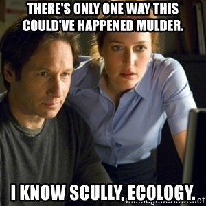 Mike Mulder Conspiracy Theory's - there's only one way this could've happened Mulder.  I know Scully, Ecology.