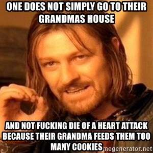 One Does Not Simply - one does not simply go to their grandmas house  and not fucking die of a heart attack because their grandma feeds them too many cookies