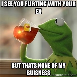 Kermit The Frog Drinking Tea - I see you flirting with your EX but thats none of my buisness