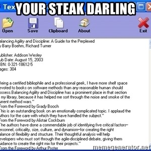 Text - YOUR STEAK DARLING