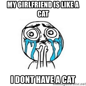 Crying face - my girlfriend is like a cat i dont have a cat
