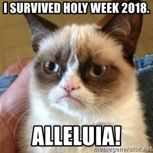 Grumpy Cat  - I survived Holy Week 2018. Alleluia!