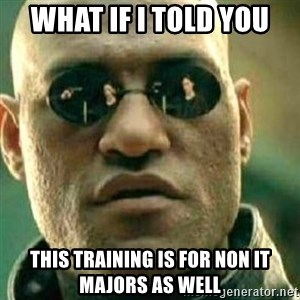 What If I Told You - What if I told you This training is for non IT majors as well