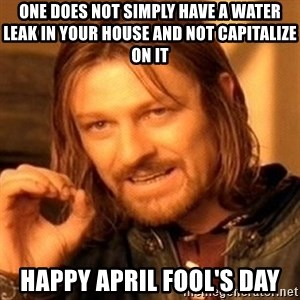 One Does Not Simply - One does not simply have a water leak in your house and not capitalize on it Happy April Fool's Day