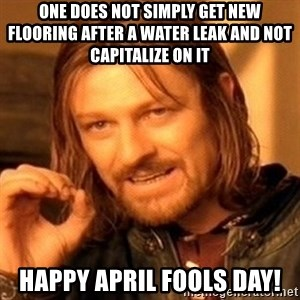 One Does Not Simply - One does not simply get new flooring after a water leak and not capitalize on it Happy April fools day!